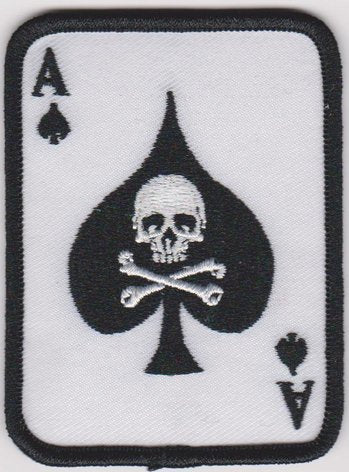 Ace Of Spades Card Iron-On Patch With Skull