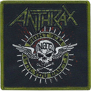 Anthrax Iron-On Patch Fight Em Til You Can't Winged Skull Logo
