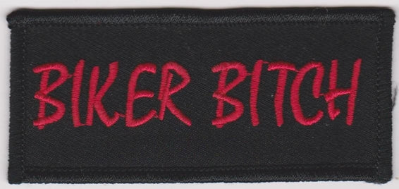 Biker Bitch Iron-On Patch Red Letters Logo