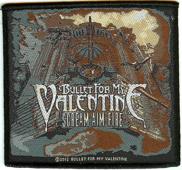 Bullet For My Valentine Sew On Patch Scream Aim Fire Logo