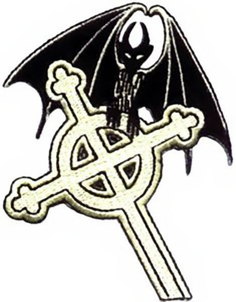 Celtic Cross Iron-On Patch Gothic Bat