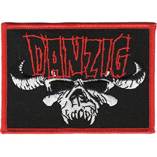 Danzig Iron-On Patch Red Letters White Skull Logo