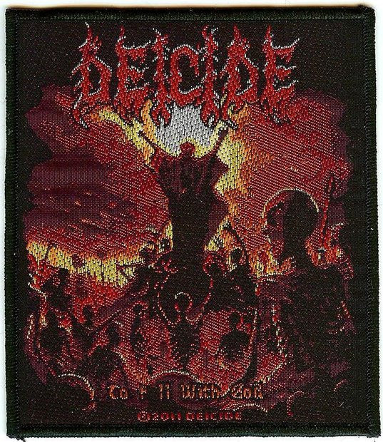 Deicide Sew On Patch To Hell With God Logo