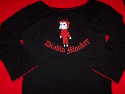 Diablo Monkey Love Long Sleeve Girlie Shirt Black Size Large