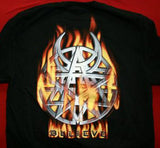 Disturbed Long Sleeve T-Shirt Flames Logo Black Size Large