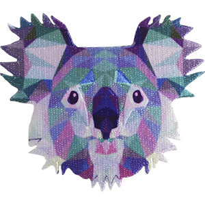 Geometric Animals Iron-On Patch Koala Bear