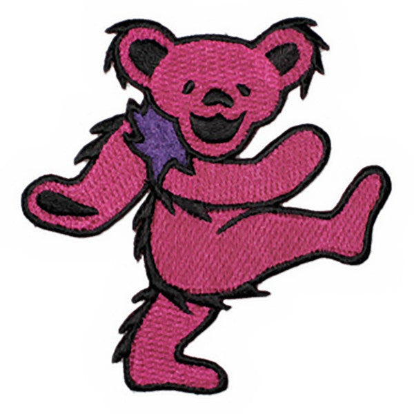 Grateful Dead Iron-On Patch Dancing Bear Pink