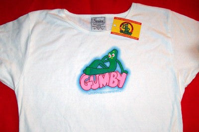Gumby Babydoll T-Shirt Puffy Logo White Size Large