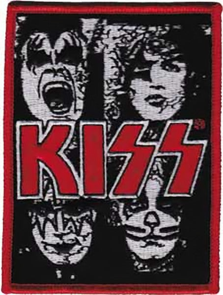 Kiss Iron-On Patch Faces Closeup Logo