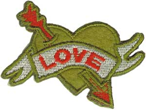 Love Iron-On Patch Green Heart Arrow Logo