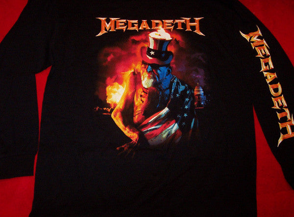 Megadeth Long Sleeve T-Shirt Uncle Sam Black Size Small New