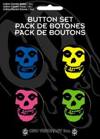 Misfits Four Button Pin Set Skulls In Colors