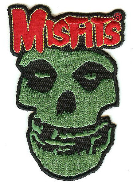 Misfits Iron-On Patch Green Skull Red Logo