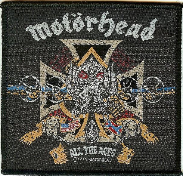 Motorhead Sew On Patch All The Aces Cross Logo
