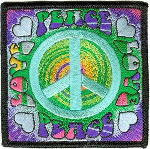 Peace Love Iron-On Patch Square Spiral Hearts Logo