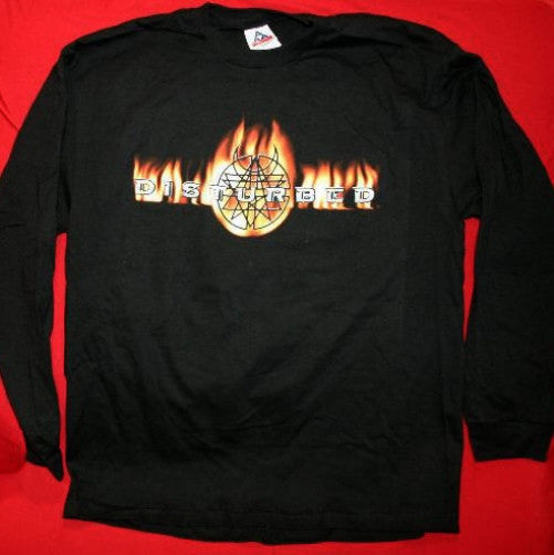 Disturbed Long Sleeve T-Shirt Flames Logo Black Size Large New