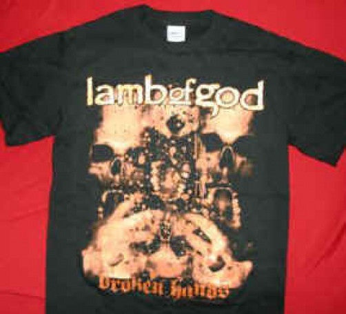 Lamb Of God T-Shirt Broken Hands Black Size Small New