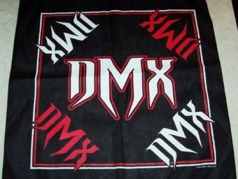 DMX Bandana Red and White Logos Black