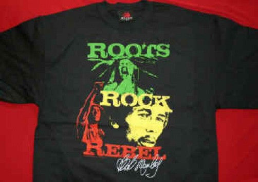 Bob Marley T-Shirt Roots Rock Rebel Black Size Large
