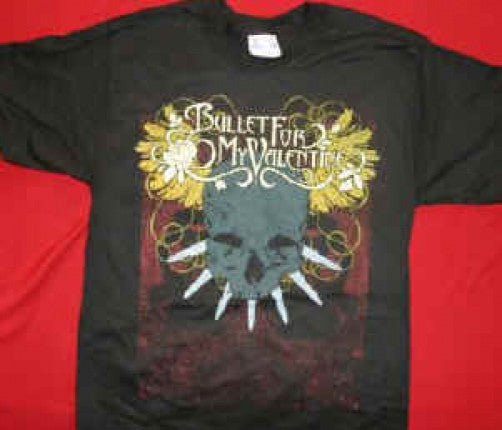 Bullet For My Valentine T-Shirt Skull Logo Black Size Large New