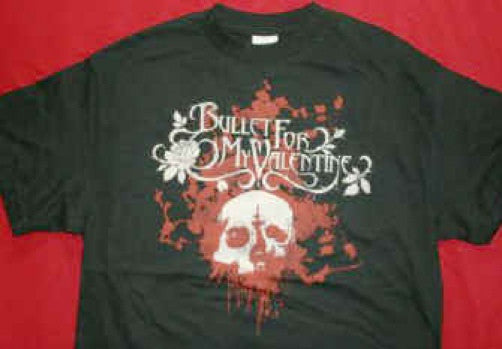 Bullet For My Valentine T-Shirt Rose Skull Black Size Medium New