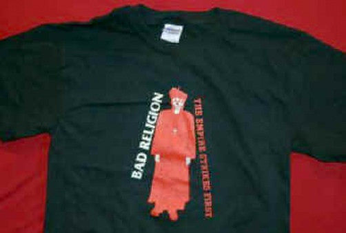 Bad Religion T-Shirt Priest Logo Black Size Large