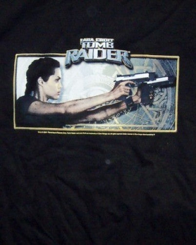 Tomb Raider T-Shirt Lara Croft Two Guns Black Size Large