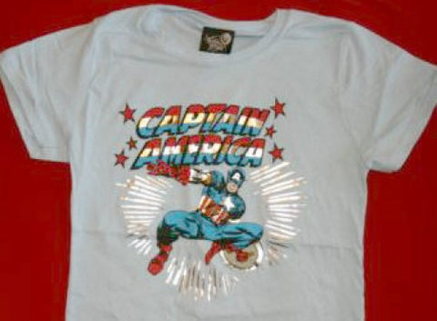 Captain America Babydoll T-Shirt Blue Size Junior Large