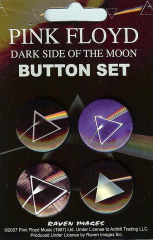 Pink Floyd Four Button Pin Set Dark Side Of The Moon