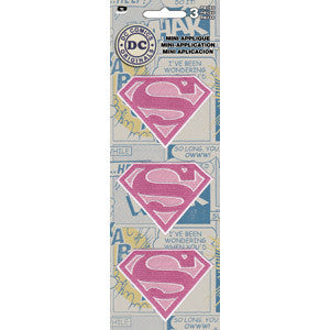 Supergirl Iron-On Patch Pink Glitter Shield Set Of 3 Mini Patches