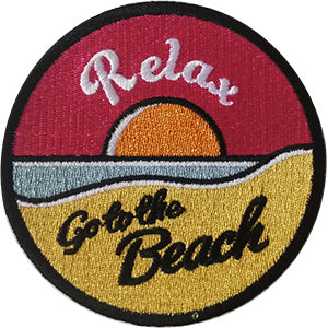 Surfing Iron-On Patch Round Relax Go To The Beach