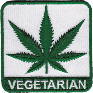 Weed Iron-On Patch Square Vegetarian Logo
