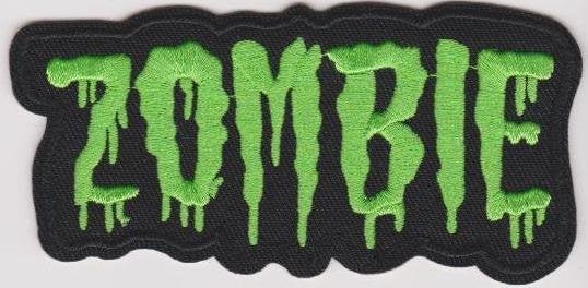 Zombie Iron-On Patch Green Letters Logo