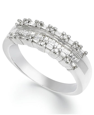 JewelMore Sterling Silver Baguette-Cut Diamond Three-Row Band (1/5 ct. t.w.), SALE, JewelMORE.com  - JewelMORE.com