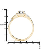 JewelMore 1/2 Carat Halo Daimond Engagement Bridal Ring Set 14K Solid Yellow Gold (I-J/I2-I3), Wedding Band Set, JewelMORE.com  - JewelMORE.com