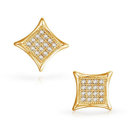 1/10CT Diamond Micro-pave Set Earrings 14K White Gold or Yellow Gold, EARRINGS, JewelMORE.com  - JewelMORE.com