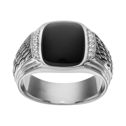 SilveRado™ for Mens 1/10 Carat T.W. Diamond & Onyx in Sterling Silver Ring - Men, RINGS,, JewelMORE.com  - JewelMORE.com