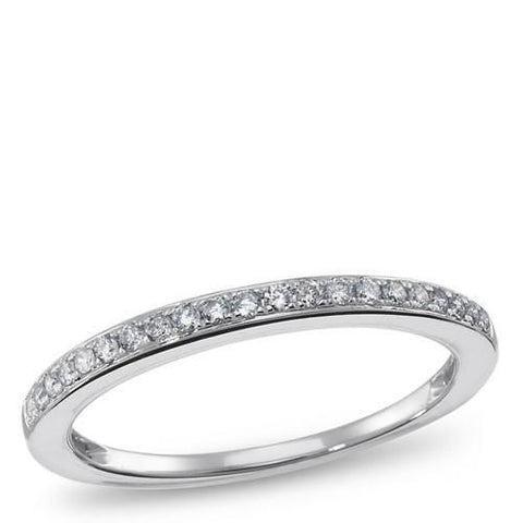 1/10 Carat (ctw) 14K Gold Round White Diamond Ladies Petite Anniversary Wedding Band Stackable Ring, RINGS, JewelMORE.com  - JewelMORE.com