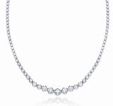 "JewelMore 14K White Gold 17 ""Graduate Diamond Tennis Necklace(3cttw, H-I Color, I1-I2 Clarity), Necklace, JewelMORE.com  - JewelMORE.com"