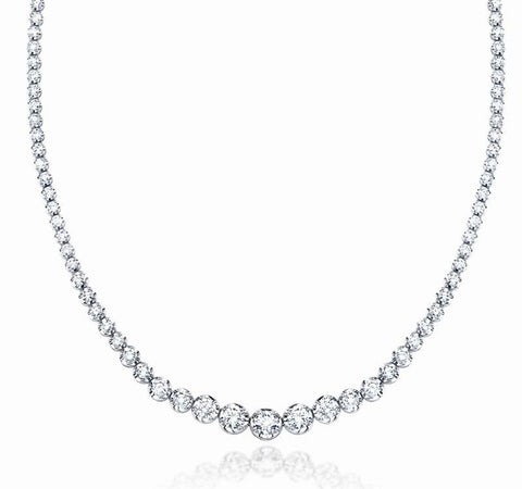 "JewelMore 5ct. 14K White Gold 17 ""Graduate Diamond Tennis Riviera Necklace(5.00 cttw, H-I Color, I1-I2 Clarity), Necklace, JewelMORE.com  - JewelMORE.com"