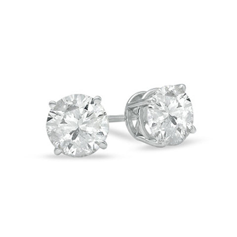 IGI-Certified 14k Gold Round-Cut Diamond Stud Earrings (2 cttw, I-J Color, I2-I3 Clarity), EARRINGS,CLASSIC, JewelMORE.com  - JewelMORE.com