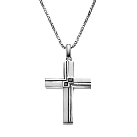 SilveRado™ for Mens 1/4 Carat T.W. Black Diamond Sterling Silver Textured Cross Pendant Necklace for Men, PENDANTS, JewelMORE.com  - JewelMORE.com