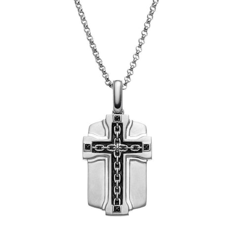 SilveRado™ for Mens Black Diamond Accent Sterling Silver Cross Link Dog Tag Necklace for Men, PENDANTS, JewelMORE.com  - JewelMORE.com