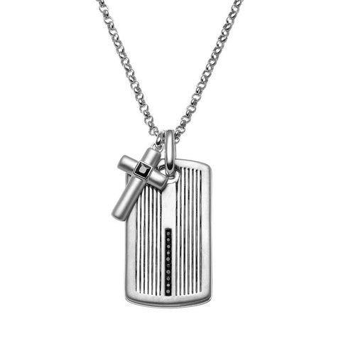 SilveRado™ for Mens 1/4 Carat T.W. Black Diamond Sterling Silver Cross Link & Textured Dog Tag Necklace for Men, PENDANTS, JewelMORE.com  - JewelMORE.com