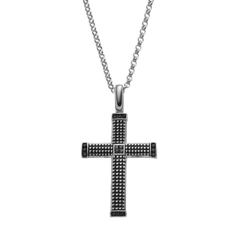 SilveRado™ for Mens 1/3 Carat T.W. Black Diamond Sterling Silver Textured Cross Pendant Necklace for Men, PENDANTS, JewelMORE.com  - JewelMORE.com