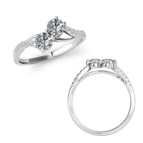 "I Love Us™  Two-Stone Ring 1/3 ct tw Diamonds 14K White Gold  ""My Best friend is My true love™"", RINGS, JewelMORE.com  - JewelMORE.com"