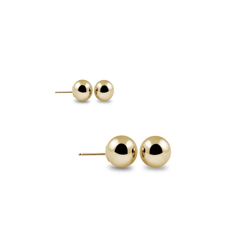 2 Pairs: 14-Karat Solid Gold Ball Studs - Assorted Colors, SALE, JewelMORE.com  - JewelMORE.com