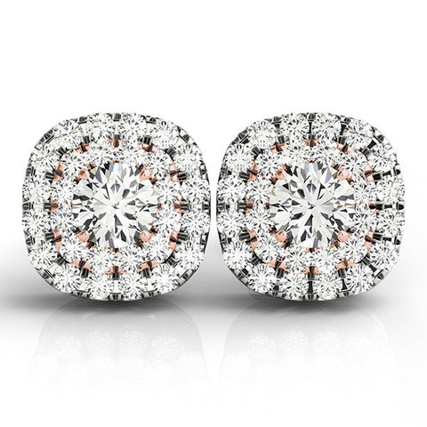 Aura™ 14K White Gold 1ct.tw Diamond Double Halo Earrings, EARRINGS, JewelMORE.com  - JewelMORE.com