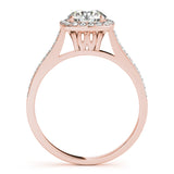 1/2 Ct. Halo Engagement & Wedding Band Set In 14k Solid Rose Gold (1/2ct, I-J Color, I2-I3 Clarity), Wedding Band Set, JewelMORE.com  - JewelMORE.com