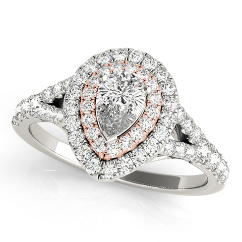 JewelMore Halo Pear-Shape Diamond Double Engagement Ring 3/4ct.tw H-I/I1-I2 14K, Engagement, Ring, JewelMORE.com  - JewelMORE.com